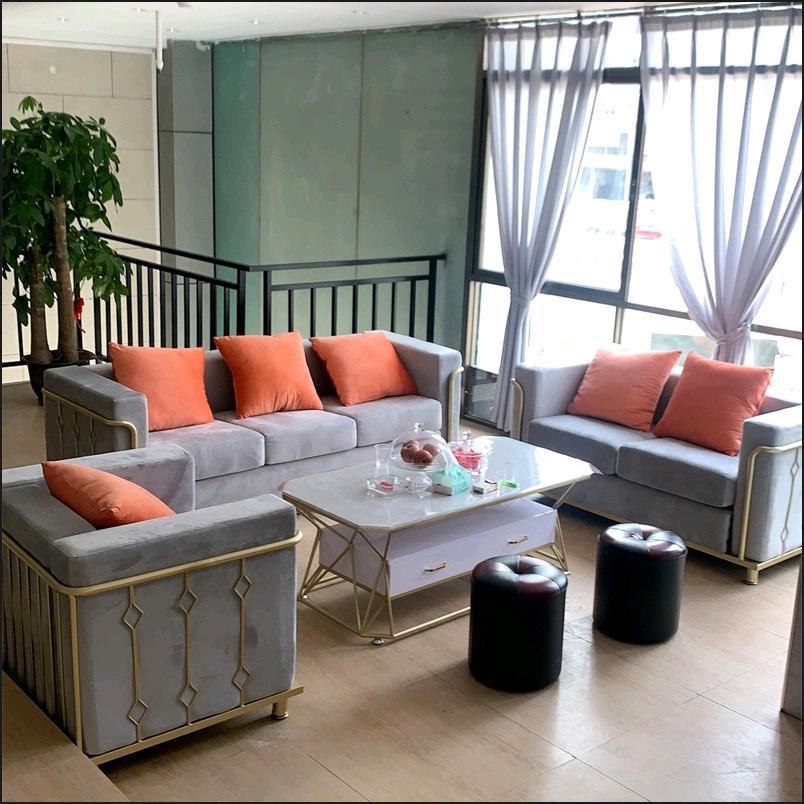 轻奢北欧布艺沙发客厅套装组合简约现代小户型接待酒店美容院家具