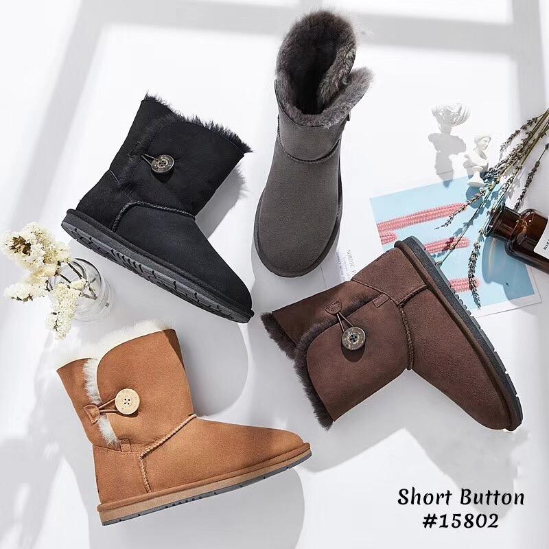 澳洲EVER AS皮毛一体雪地靴15802新版防水经典中筒单扣穿脱方便鞋