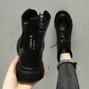 马丁靴女潮ins英伦风2019新款秋冬季百搭加绒黑色网红帅气小短靴