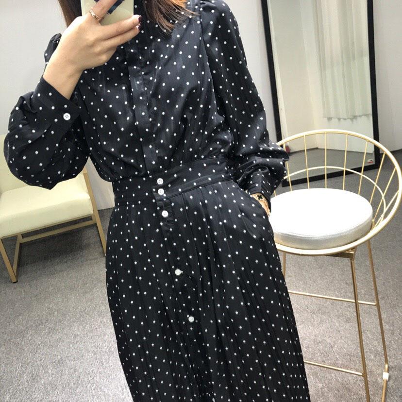 ◆安娜家◆2018秋季新款长袖波点收腰连衣裙衬衫裙气质高腰半身裙