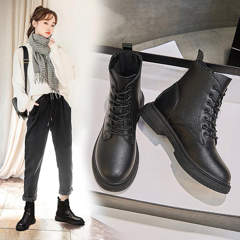 马丁靴秋季薄款女2021年新款靴子厚底女靴春秋休闲单靴黑色短靴