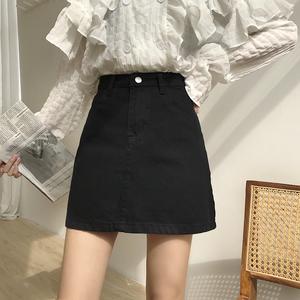 夏2019新款chic大码胖mm高腰a字裙黑色牛仔短裙女学生包臀半身裙