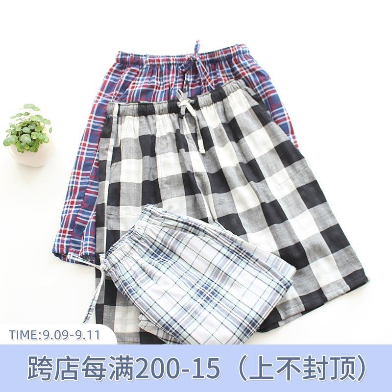 日系男夏季纯棉纱布双层五分裤短裤
