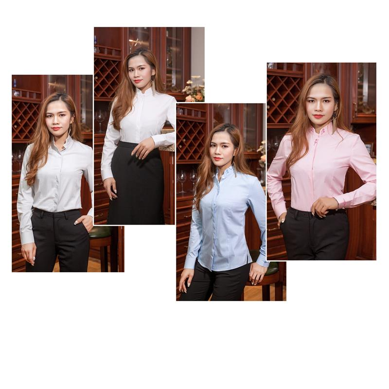 Shanghua tiannv fashionable Chinese shirt spring summer standing collar business professional dress long sleeve slim national style embroidery lining