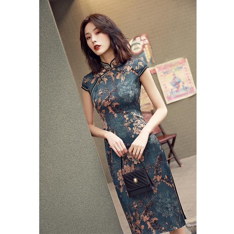 老上海旗袍年轻款长款少女改良气质复古民国风军阀太太连衣裙女夏