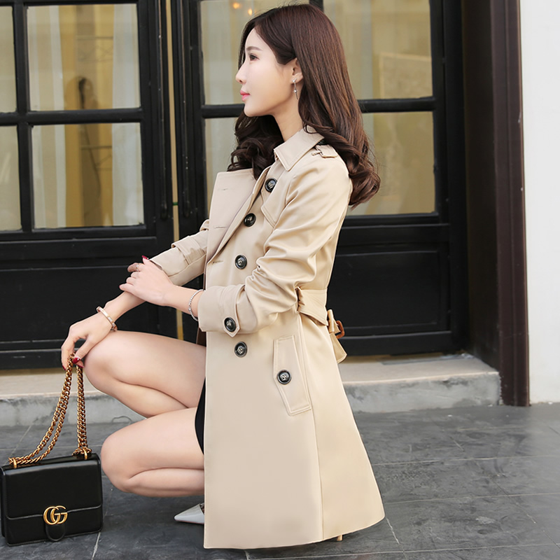 2021 new deep Khaki spring windbreaker womens medium and long sleeve coat autumn small womens slim coat