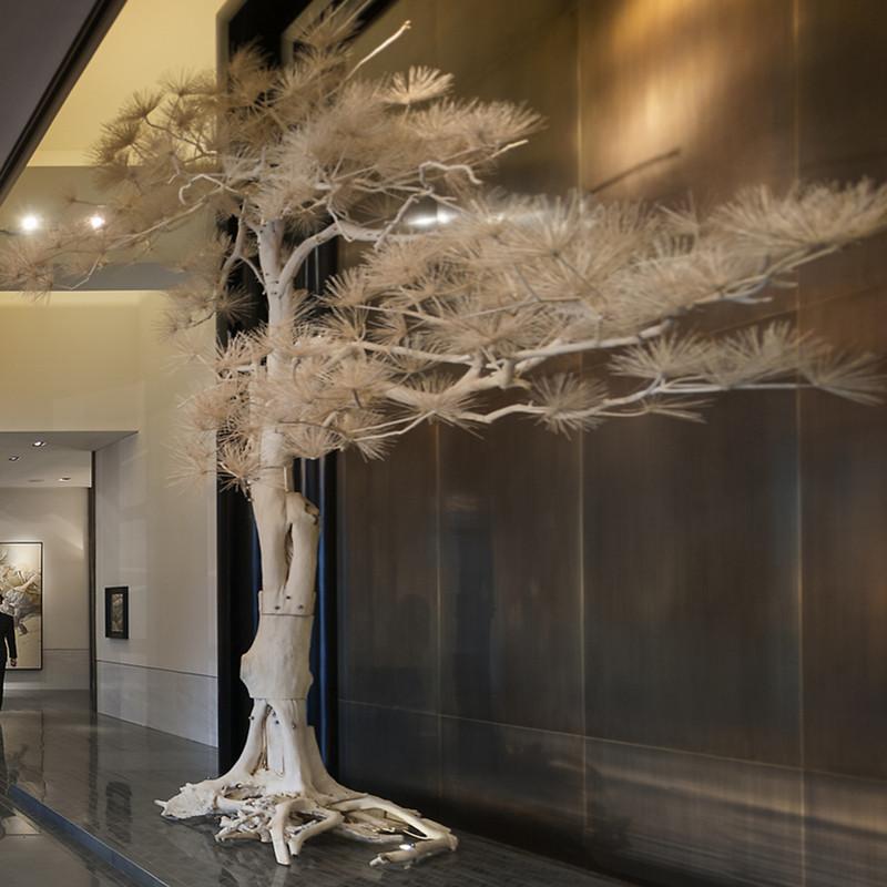 仿真松树迎客松大型假树客厅室内酒店装饰树摆件雪松盆景罗汉松