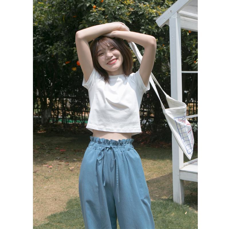 你好卡农 短款露脐短袖t恤女2019夏季新款纯色简约棉白色圆领上衣