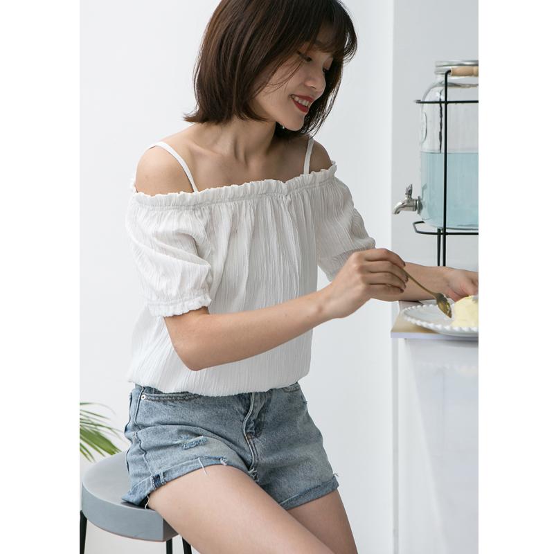卡农自制 韩范2018夏季女装纯色压褶露肩一字领短袖T恤/上衣 2色