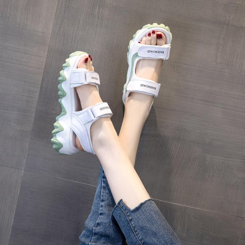 女士老爹凉鞋夏2020年夏季新款时尚百搭网红女鞋厚底松糕休闲鞋子