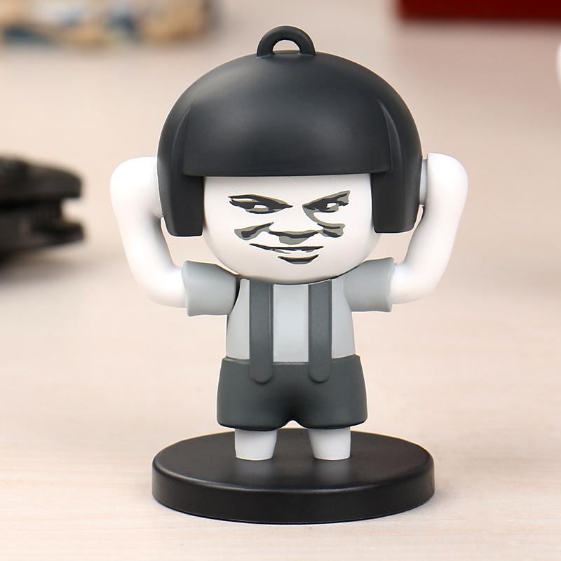 抖音同款蘑菇头变脸玩具暴漫搞笑表情钥匙扣六表情豆芽屋搞笑正版