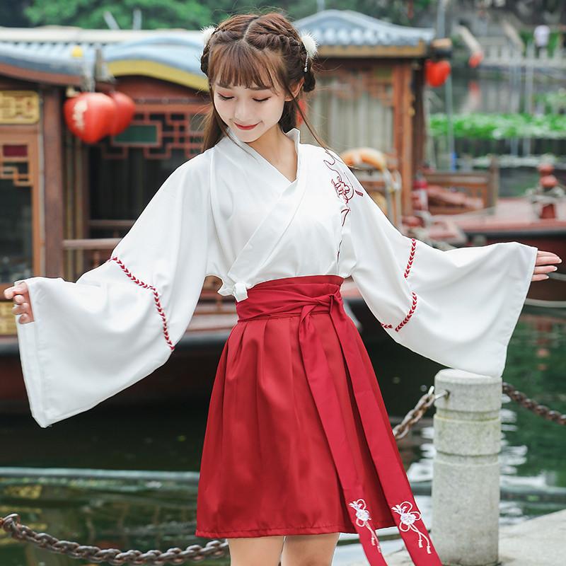 新款改良班服汉服女改良版女装襦裙古装中国风套装学生古风日常装
