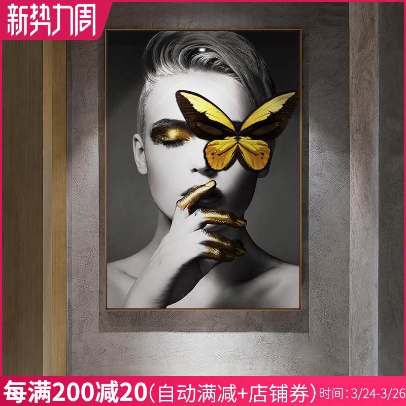 人物美女玄关黑白客厅背景墙挂画