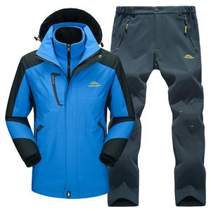 冬季户外服装冲锋衣男潮牌三合一两件套加绒加厚可拆卸女衣裤套装