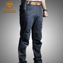Autumn and winter instructor Tactical Jeans male elastic slimming multi-pocket military pants as training pants straight barrel outdoor overalls pants