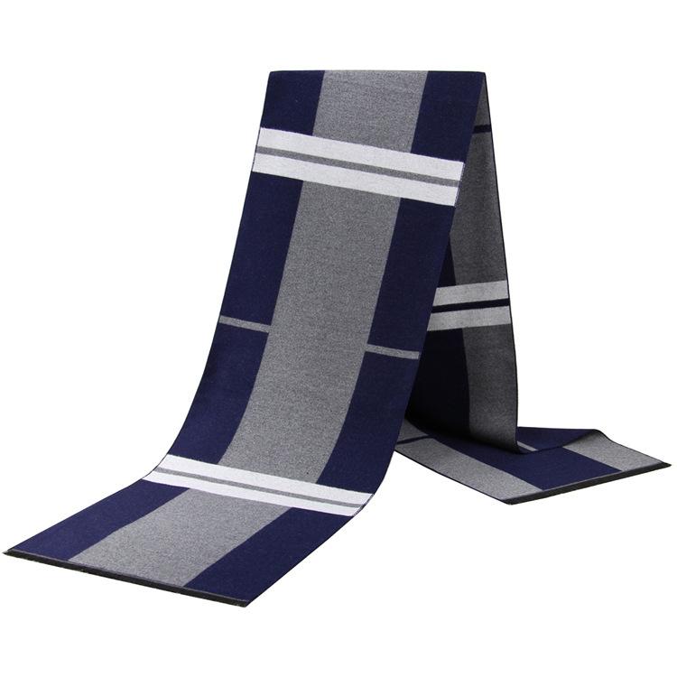 Korean fashion mens scarf autumn and winter warm casual casual scarf mens imitation silk stripe neck
