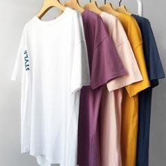 (现货)3319【模特实拍】字母印花背部不规则开叉个性中长款T恤女