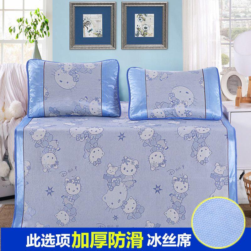 單人床防滑涼墊雙人摺疊小床墊子卧室卡通床單竹編客廳竹制竹涼席