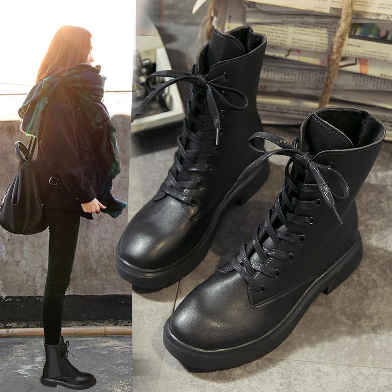 杨幂同款马丁靴女刺绣粗跟英伦风秋冬新款系带帅气增高加绒SW短靴