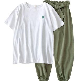 套裝女夏2020新款韓版網紅百搭時尚洋氣初中學生閨蜜減齡兩件套潮