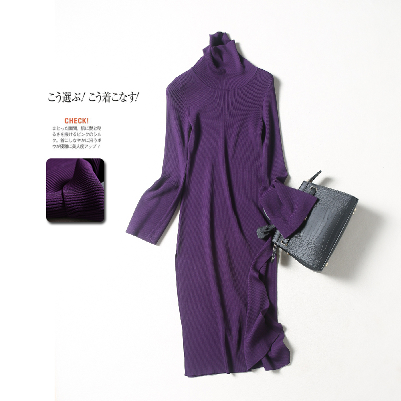 秋冬设计师款 高领钟型袖廓形修身厚针织连衣裙~开叉裙摆中长款