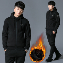Sports set mens autumn winter 2018 new Velvet thickened hooded clothing warm leisure sports set two-piece set