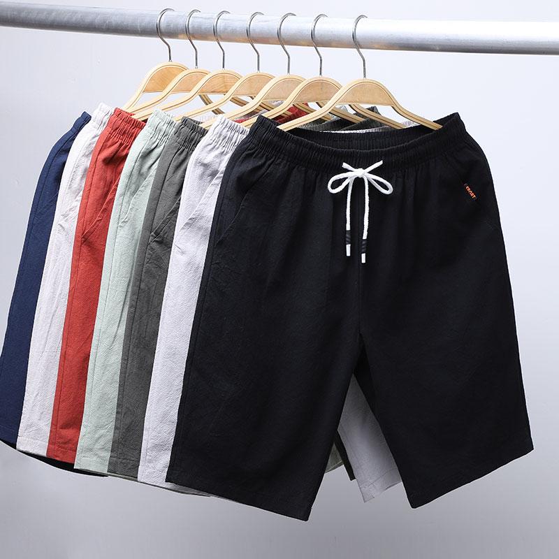 10月18日最新优惠男士短裤子夏季棉麻5分五分裤宽松休闲潮流加肥加大码亚麻沙滩裤