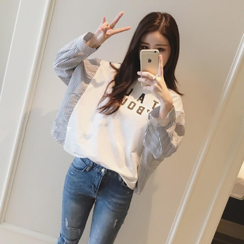 条纹衬衫拼接长袖t恤女外穿春季打底上衣服韩版潮宽松学生蝙蝠衫