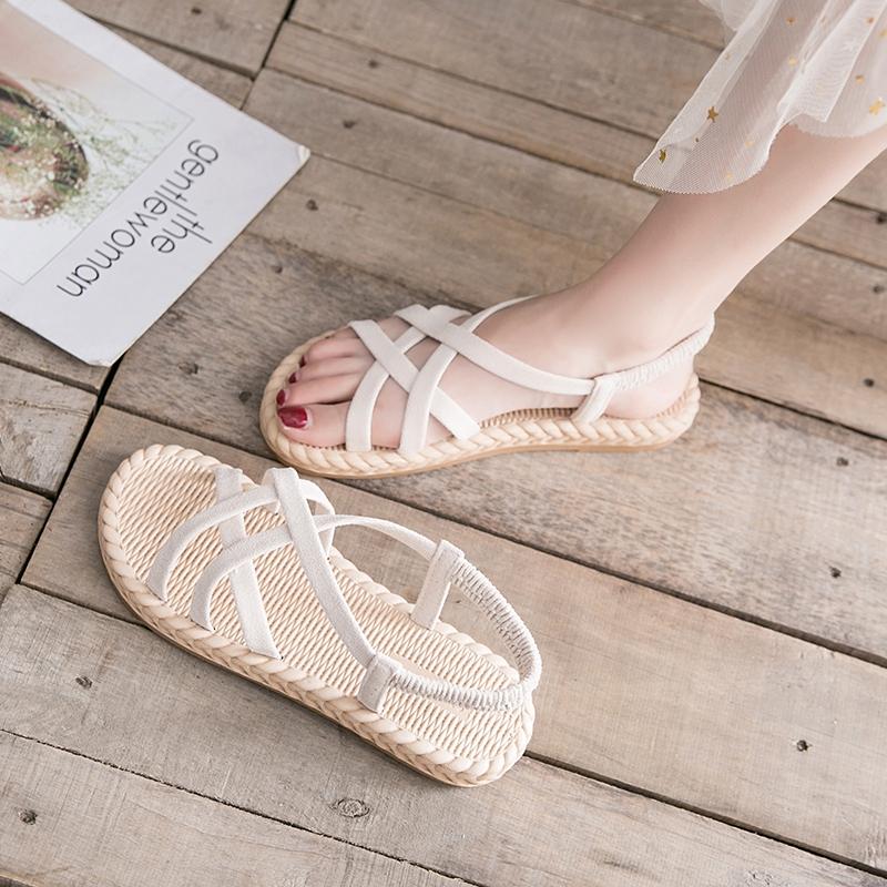 凉鞋女ins潮2019夏季新款平底网红配裙子的鞋仙女风编织罗马鞋子热销10件正品保证