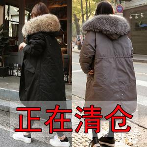 棉衣女2019冬季新款韩版中长款羽绒棉服大毛领加厚外套学生棉袄女