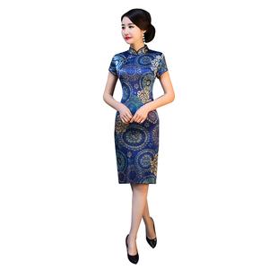 青花瓷蓝色真丝旗袍中长款连衣裙