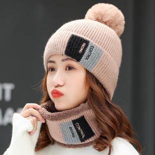 帽子女秋冬天毛线帽可爱百搭围脖套装帽韩版时尚加绒加厚针织帽潮
