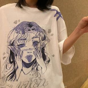 YITE日系二次元紫色动漫嘻哈短袖上衣女设计感心机小众T恤女ins潮品牌