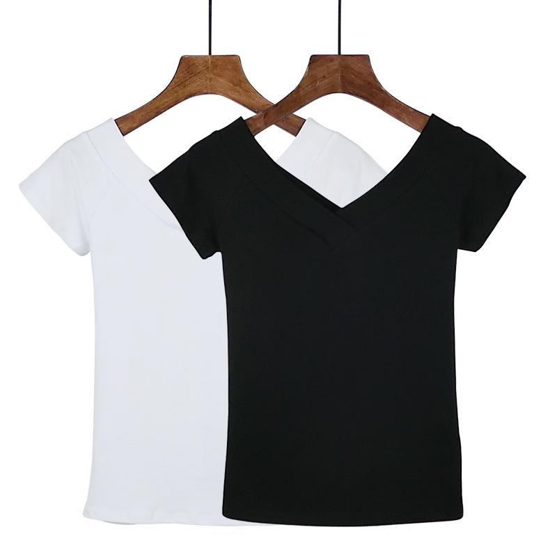 2019夏季大V领前后双V露肩t恤女上衣紧身短袖打底衫修身纯棉女装手慢无