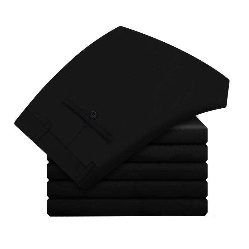 秋冬加绒款西裤男士修身商务直筒中高腰休闲黑色西装裤正装长裤子