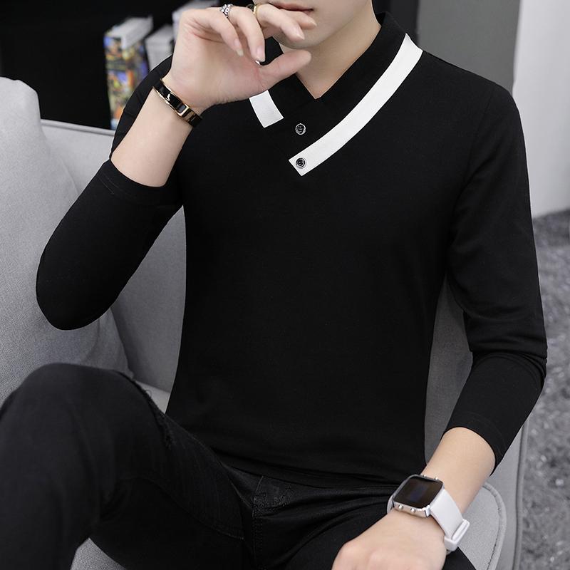 秋冬季男士春装长袖t恤V领上衣潮流韩版卫衣服个性秋衣男装打底衫