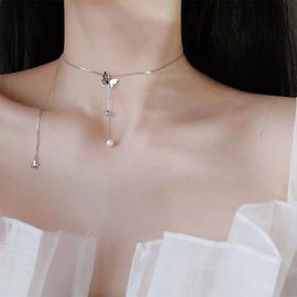 s925纯银蝴蝶项链女韩版天然珍珠锁骨链网红简约气质个性学生森系