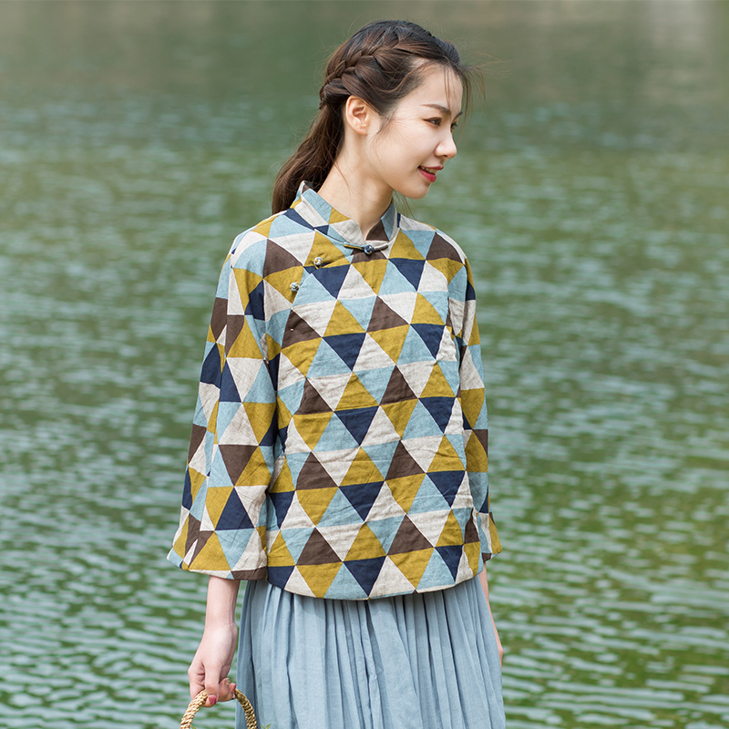 Qingmu self-made 2019 new all cotton double woven yarn Chinese style small top with manual buckle and retro style