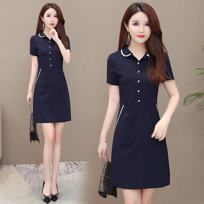 职业连衣裙2020夏季新款OL短袖连衣裙收腰气质显瘦包臀裙工作服女