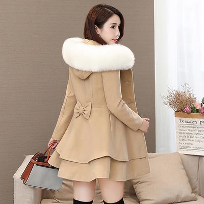 2020秋冬新款女装韩版中长款修身裙摆呢子大衣显瘦小个子毛呢外套