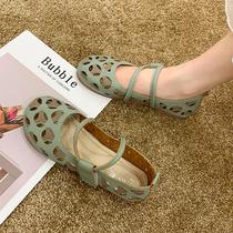 夏季镂空单鞋女舒适软底护士鞋洞洞凉鞋仙女风休闲舒适平底豆豆鞋