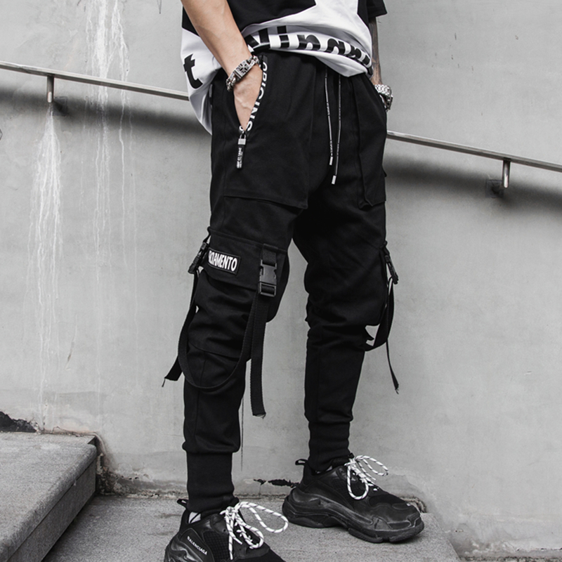 Spring and summer 2020 mens casual Leggings dark national trend tapered boys overalls Multi Pocket overalls