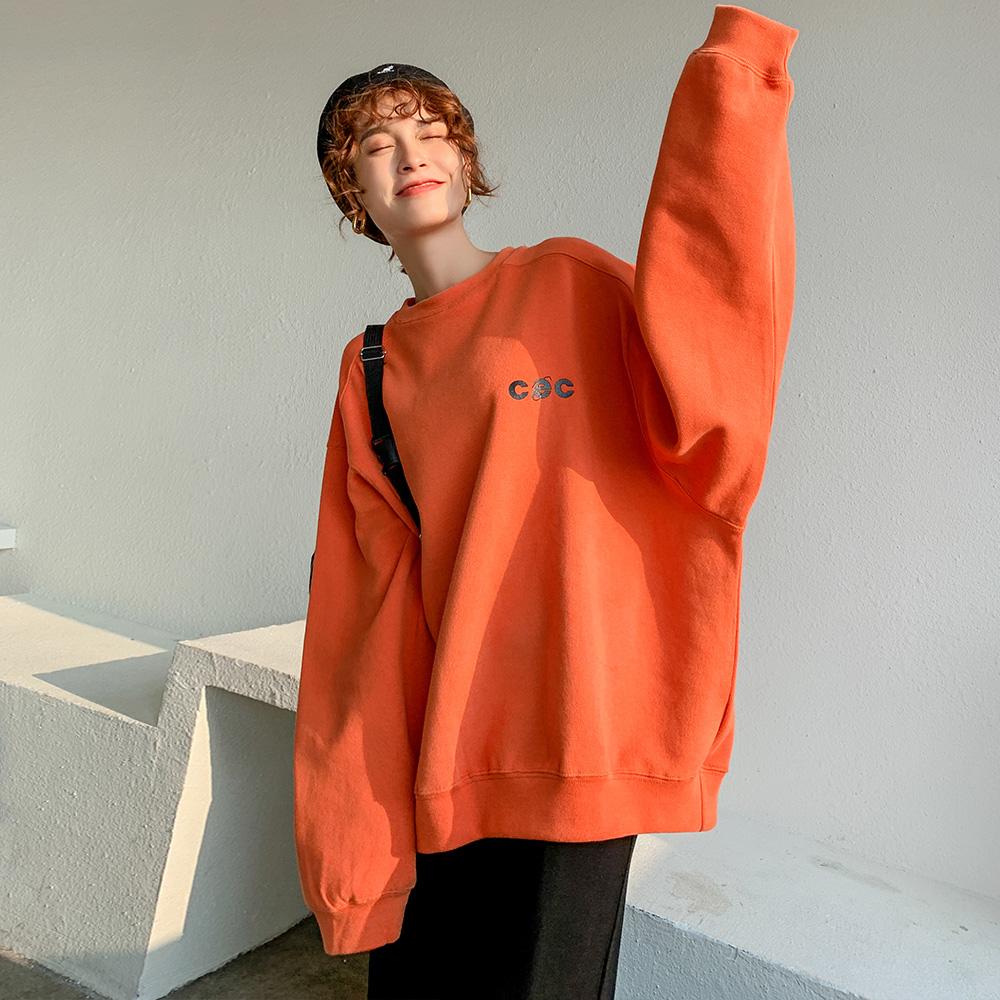 韩版宽松慵懒套头圆领橙色橘色无帽卫衣女ins潮2020新款加绒加厚图片