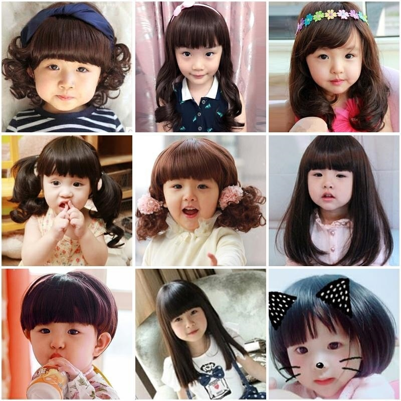 Natural lovely hair show childrens Hanfu girls ancient costume headdress long wig big wave show girl baby
