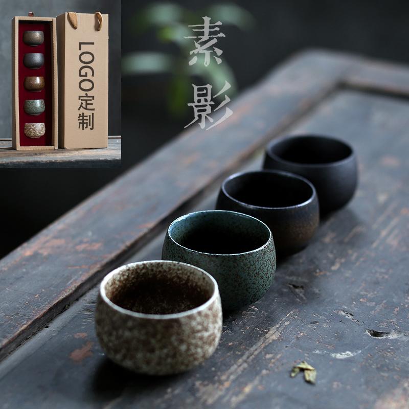 素影 仿古日式茶杯粗陶瓷斑斓窑变品茗杯复古罗汉杯子家用主人杯