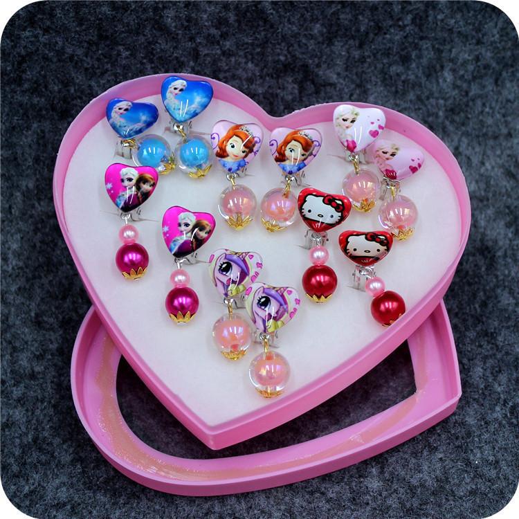 Lovely childrens ring earrings Princess pierced earrings false Earrings girl Earrings Jewelry Boxed Gift Set