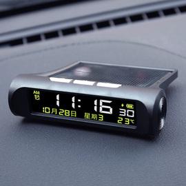汽车太阳能 车载时钟摆件温度计表自动开机高精度led数显夜光智能