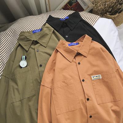 长袖衬衫男韩风衬衫春季打底衬衫 cs06 p55 控68