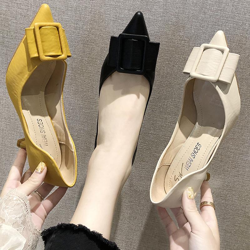 蝴蝶结单鞋女中跟2019秋季新款韩版尖头中空高跟鞋浅口细跟女鞋潮