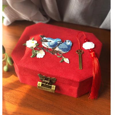 双层珠宝盒首饰盒古风饰品盒玉镯盒眼镜收纳结婚耳钉盒教师节礼物
